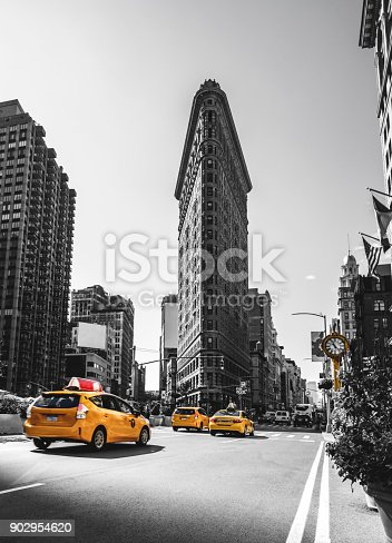 The Flatiron Building in New York City in the morning
