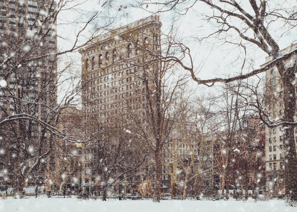 Flatiron Building NYC and snow stock photo