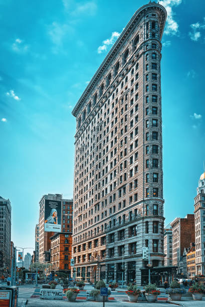 Flatiron Building on 5th Avenue near Madison Square Park. Urban views of New York. stock photo