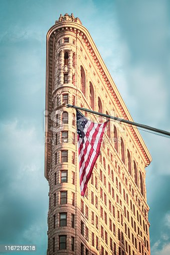 The Flatiron Building with American Flag