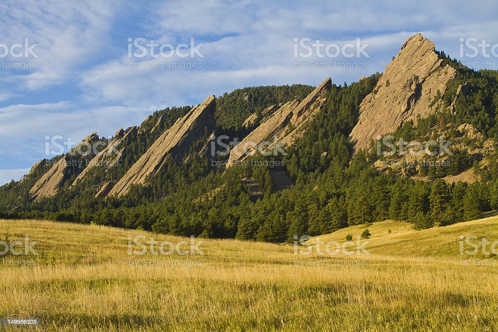Flatiron Morning Light Boulder Colorado royalty-free stock photo