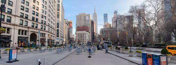 Flatiron Public Plaza während des Coronavirus-Ausbruchs verlassen – Foto