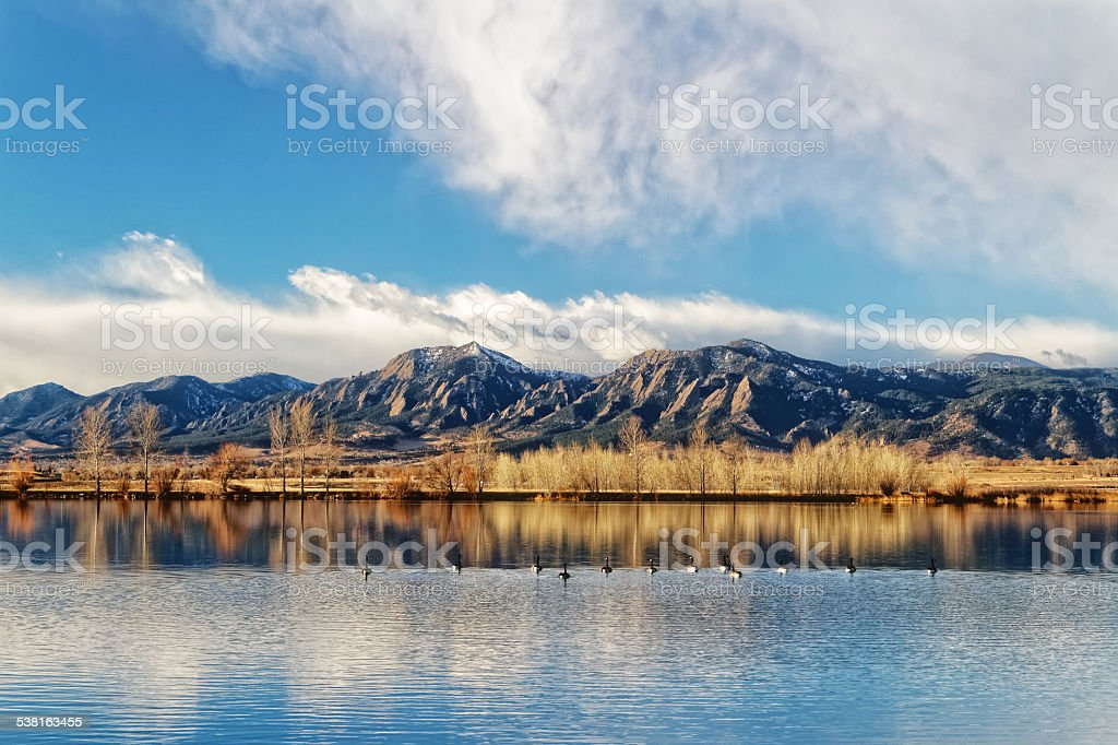 Flatirons and  Geese stock photo