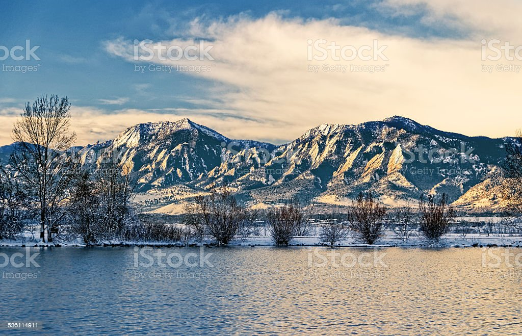 Flatirons Boulder in the Winter stock photo