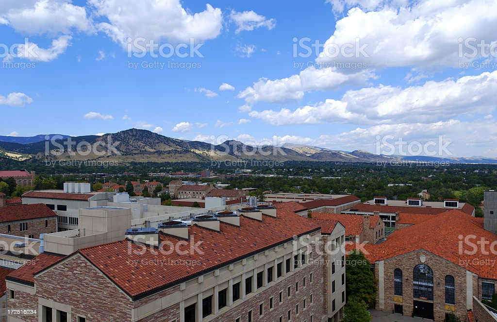 Flatirons Seen From CU stock photo