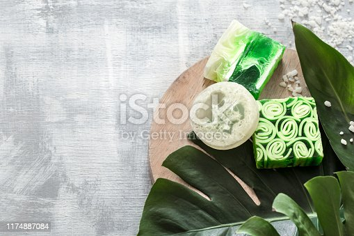 istock Flat-lay natural bright beautiful cosmetics handmade soap. 1174887084