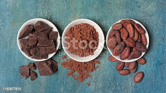 Flatlay of chocolate chunks with cocoa beans and powder for confectionery on blue concrete background