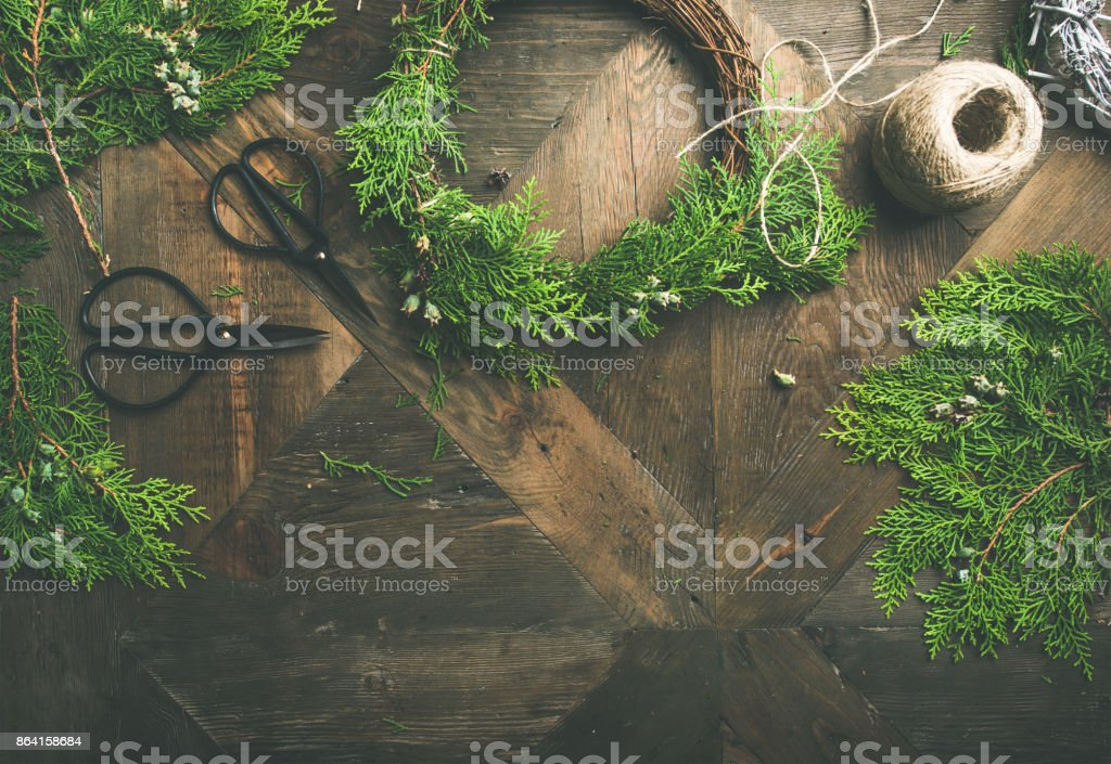Flat-lay of Christmas and New Year decoration, copy space royalty-free stock photo