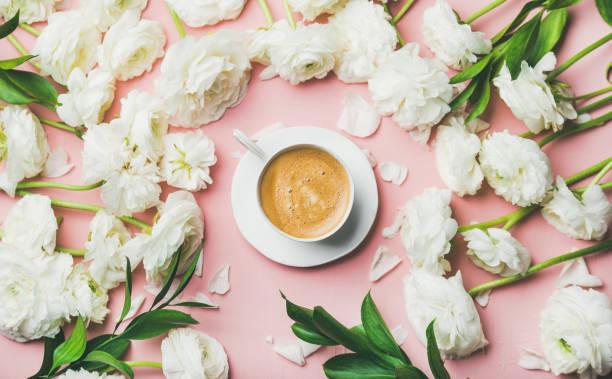 wohnung-lay tasse kaffee mit weißen ranunkeln blumen umgeben - italienische lebensart stock-fotos und bilder