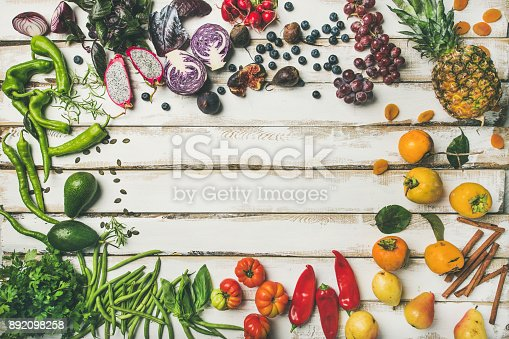 istock Flat-lay of fresh fruit, vegetables, greens and superfoods 892098258