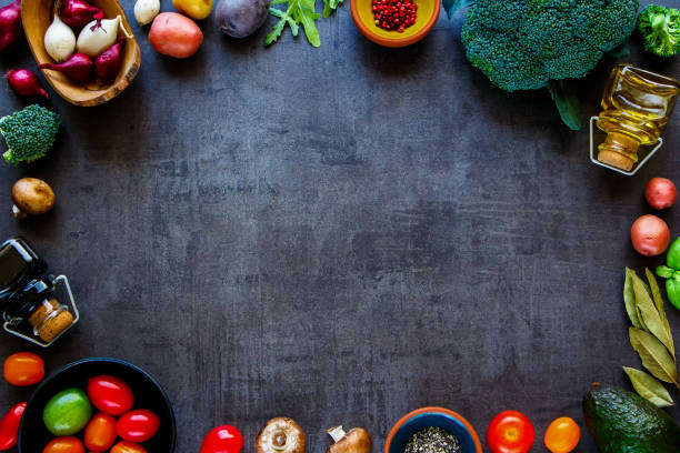 Flat-lay of ingredients stock photo