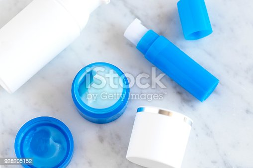 istock Flatlay skincare cosmetic products on marble 928205152