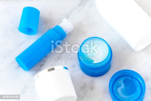 istock Flatlay skincare cosmetic products on marble 928205160