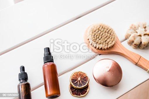 istock Flatlay spa beauty cosmetics on white table 961983652