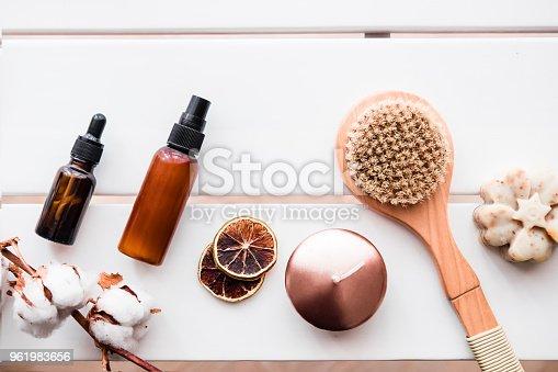 istock Flatlay spa beauty cosmetics on white table 961983656
