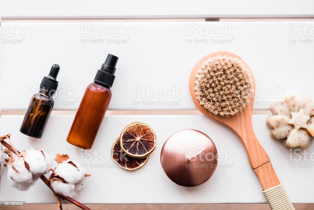 Flatlay spa beauty cosmetics on white table stock photo