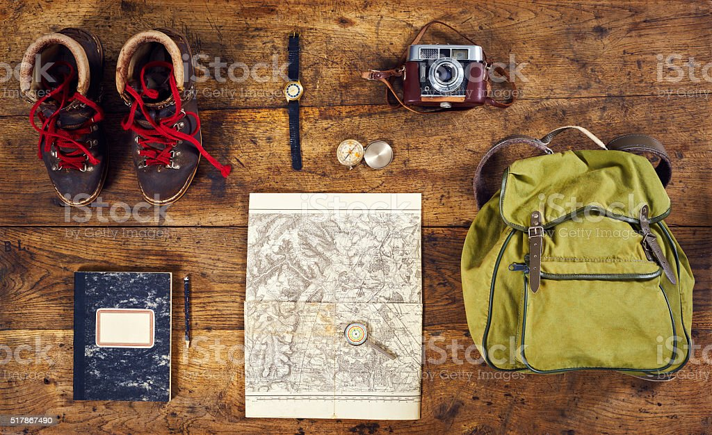flatlay top hiking retro watch stock photo