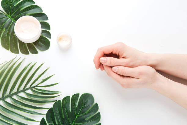 flatlay. woman putting nutritious cream on her hands on white background among jar of cosmetic cream, leaf palm branch. final stage of manicure: woman uses moisturizer for the skin. copy space - cuticle stock pictures, royalty-free photos & images