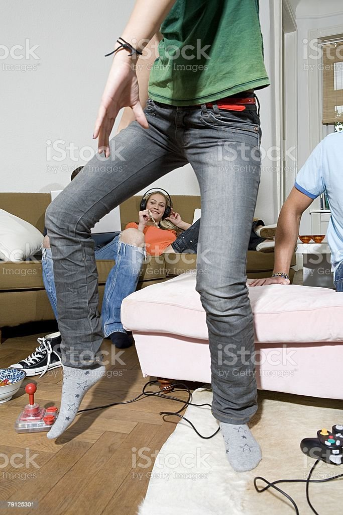 Flatmates chilling out 免版稅 stock photo