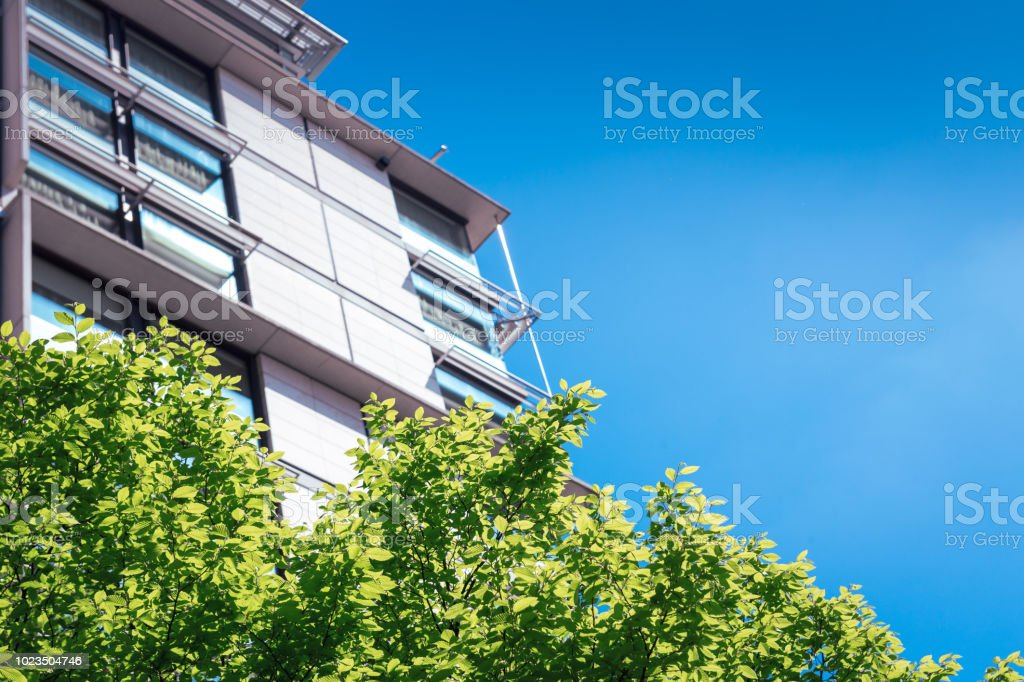 Flats and trees stock photo