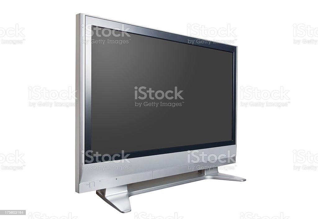 Flatscreen HDTV with silver borders royalty-free stock photo