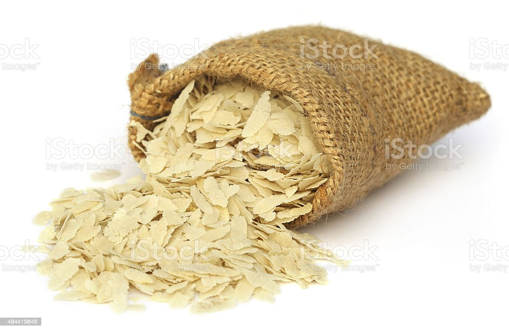 Flattened rice of South East Asia stock photo