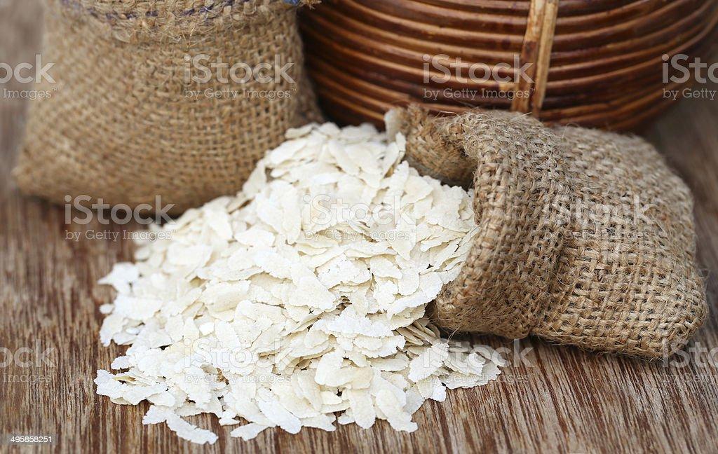 Flattened rice stock photo