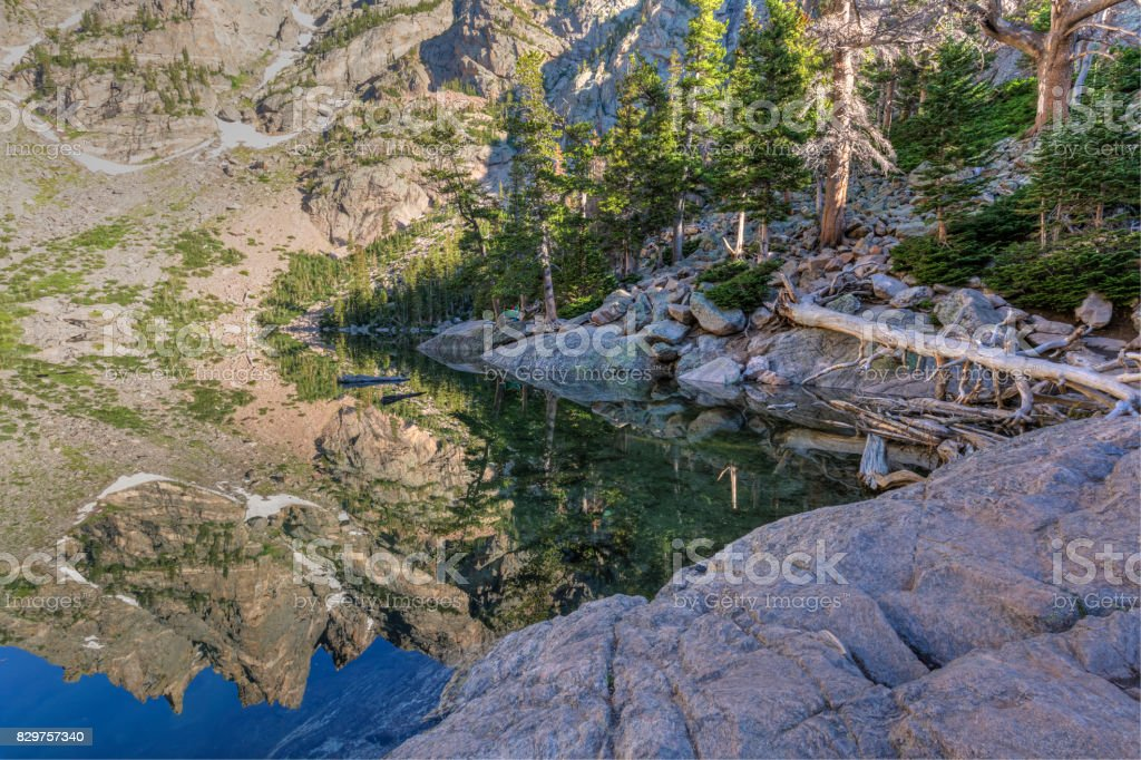 Flattop Mountain Spires Reflected stock photo