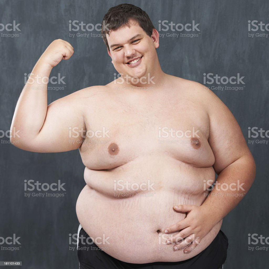 Flaunting his flab! stock photo