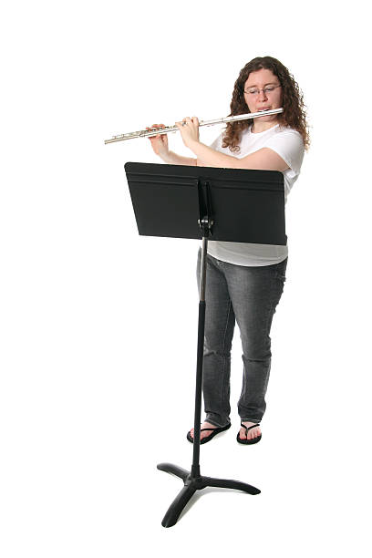 flautist - notenständer stock-fotos und bilder