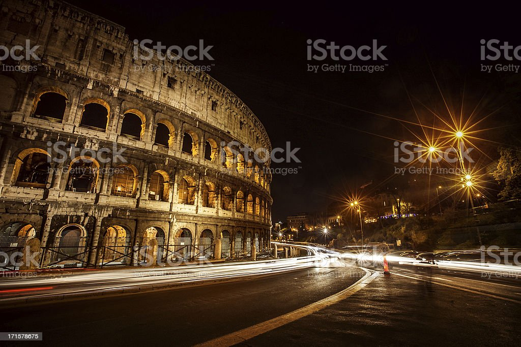 Flavian Amphitheater Coliseum of Rome at Night royalty-free stock photo
