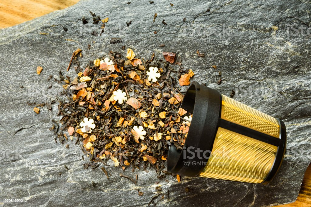 Flavored black blend tea stock photo