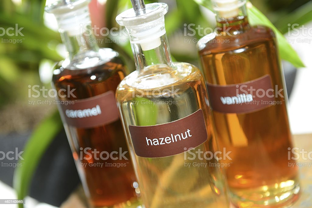 Flavored Coffee Syrups stock photo