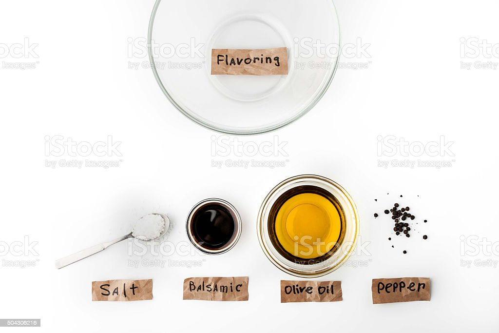 Flavoring set on the white background top view stock photo