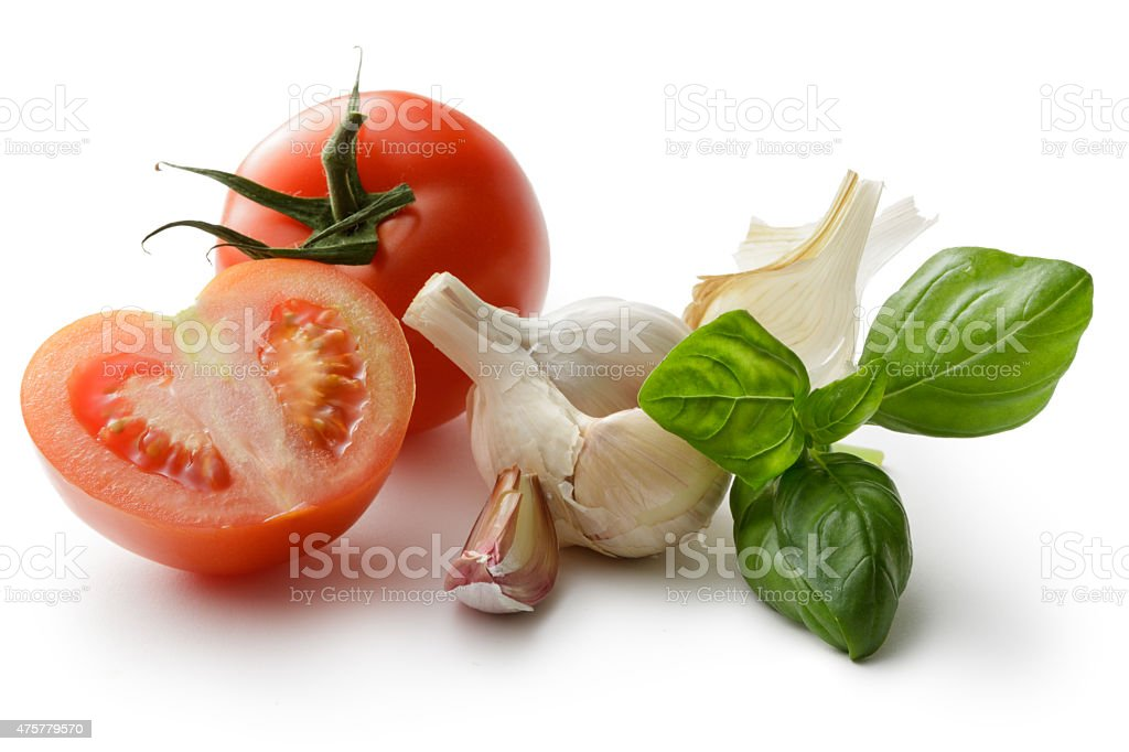 Flavouring: Basil, Garlic and Tomato stock photo