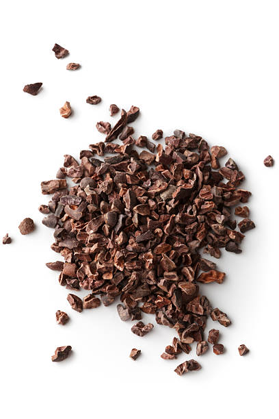 flavouring: cacao nibs - cacaovrucht stockfoto's en -beelden