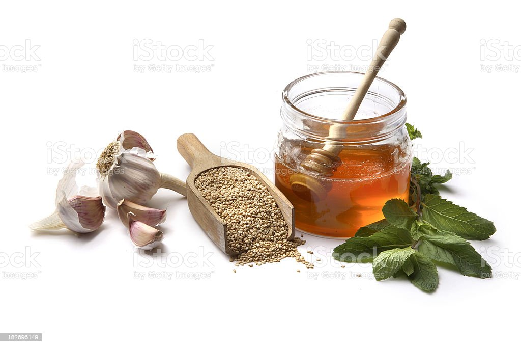 Flavouring: Honey, Sesame, Mint and Garlic royalty-free stock photo
