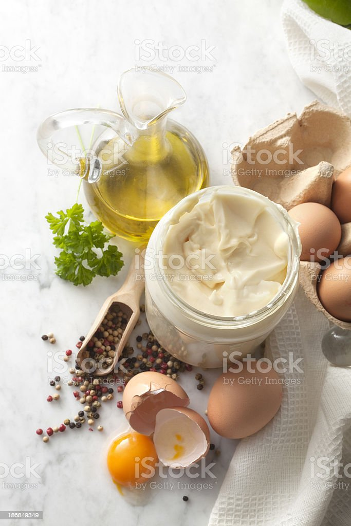 Flavouring: Mayonnaise and Ingredients stock photo