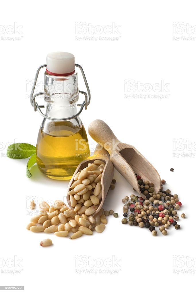 Flavouring: Olive Oil, Pine Nuts and Pepper royalty-free stock photo