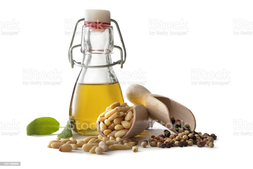 Flavouring: Olive Oil, Pinenuts, Pepper and Sage royalty-free stock photo