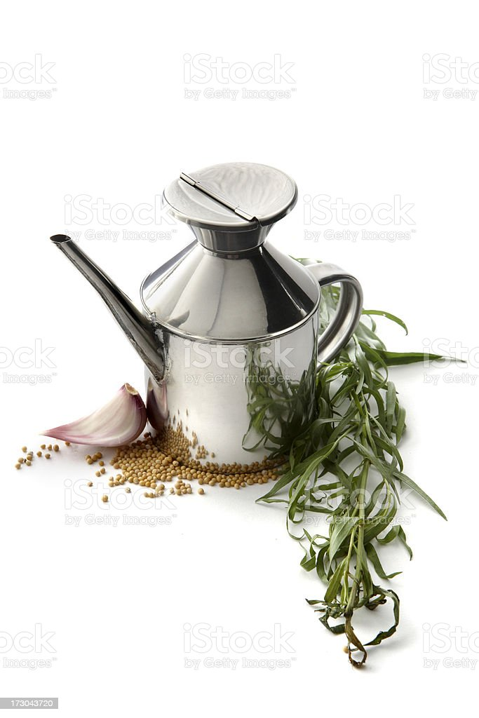 Flavouring: Olive Oil, Tarragon, Mustard and Garlic royalty-free stock photo