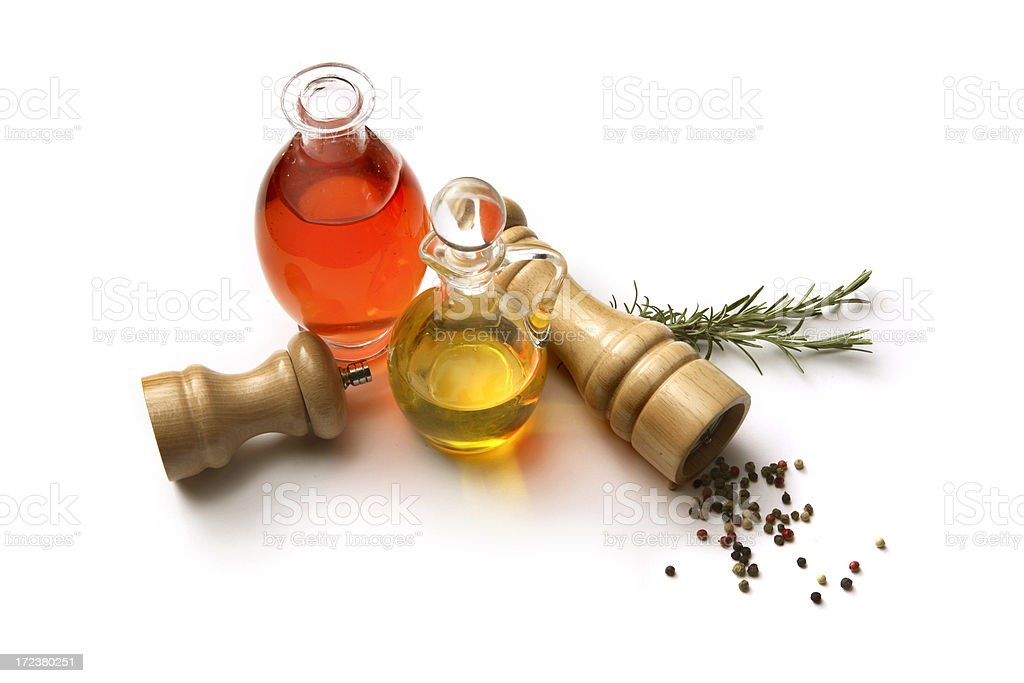 Flavouring: Olive Oil, Vinegar, Rosemary, Pepper and Salt royalty-free stock photo