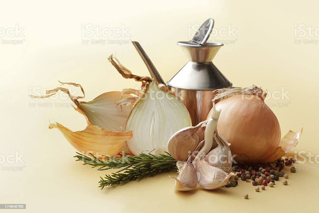 Flavouring: Onions, Garlic, Pepper and Rosemary royalty-free stock photo