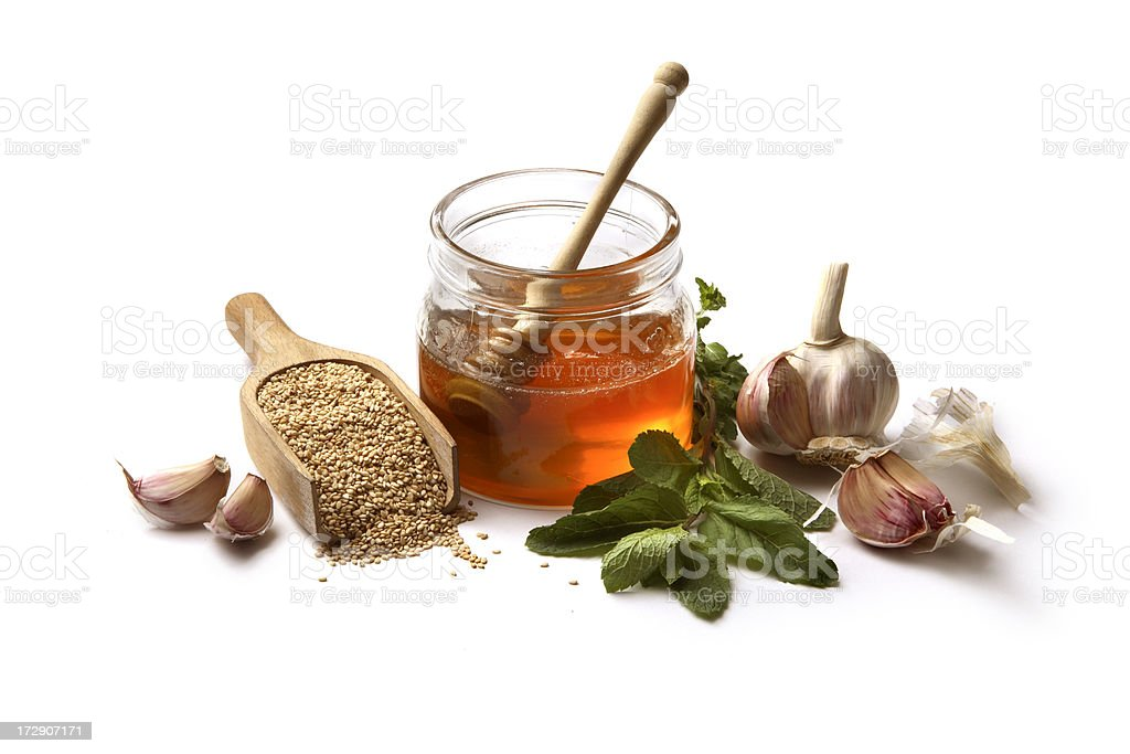 Flavouring: Sesame Seeds, Garlic, Honey, Mint royalty-free stock photo