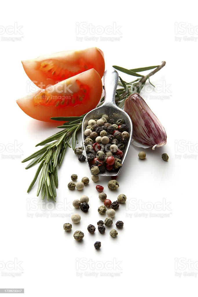 Flavouring: Tomato, Rosemary, Garlic and Pepper royalty-free stock photo