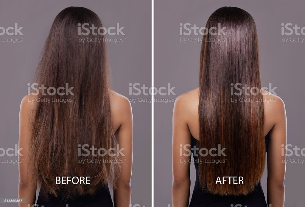 Flawless hair..thanks to her trusty flat iron! stock photo