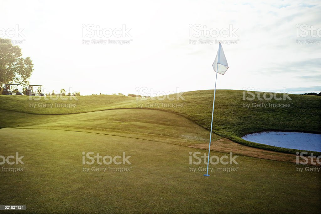 Flawlessly manicured fairway stock photo