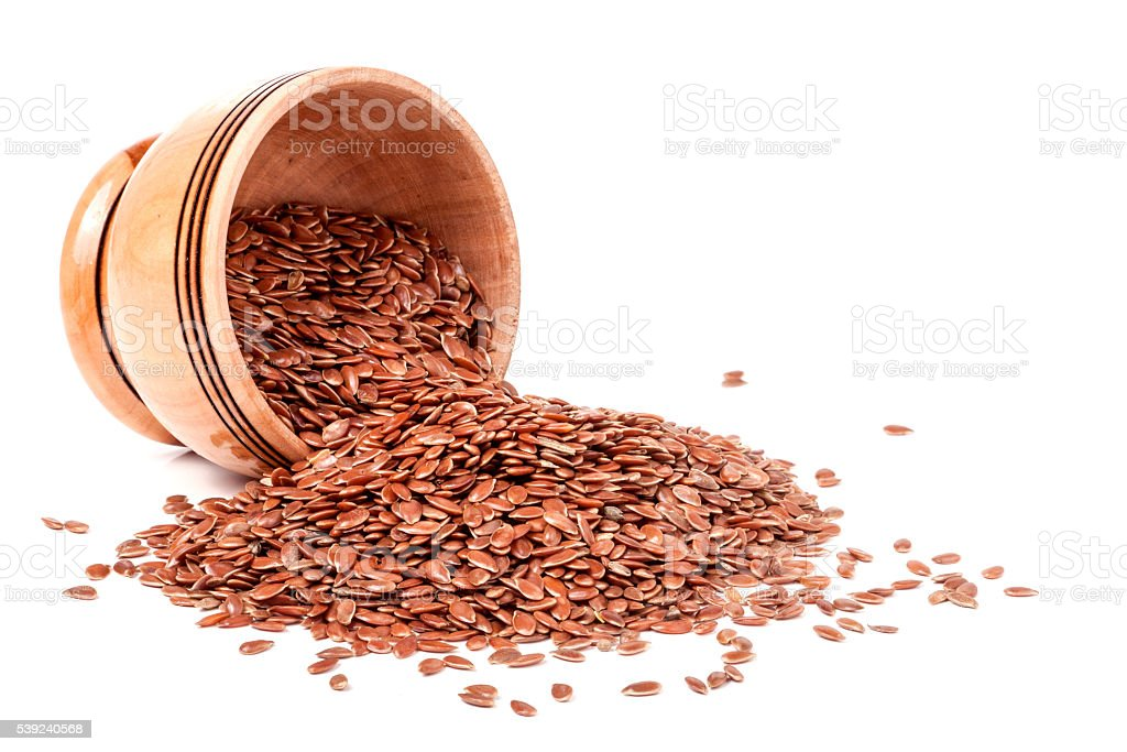 flax in a wooden bowl isolated on white background royalty-free stock photo