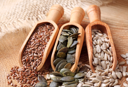 Flax Pumpkin And Sunflower Seeds Stock Photo - Download Image Now