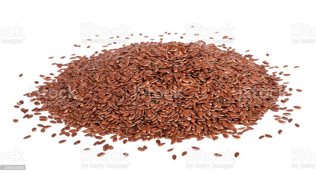 Flax seeds heap stock photo